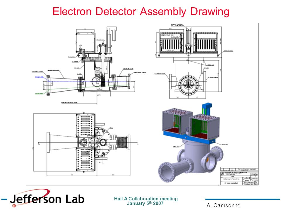 Hall A Collaboration meeting January 5 th 2007 A. Camsonne Electron Detector Assembly Drawing