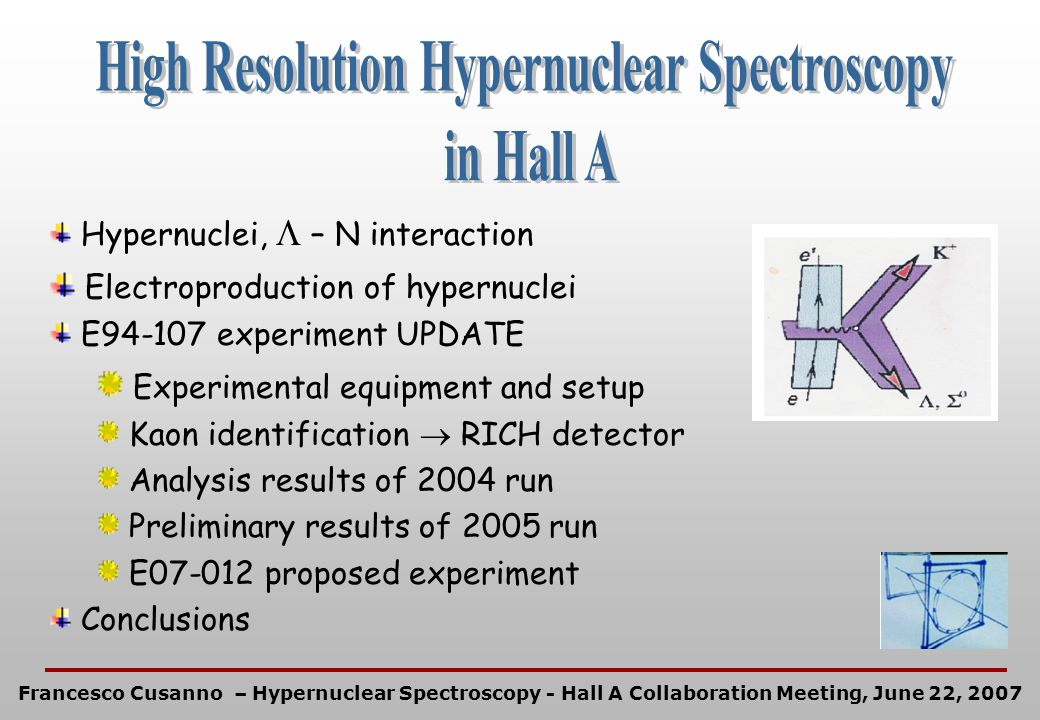 Hypernuclei, – N interaction Electroproduction of hypernuclei E94-107 experiment UPDATE Experimental equipment and setup Kaon identification RICH dete