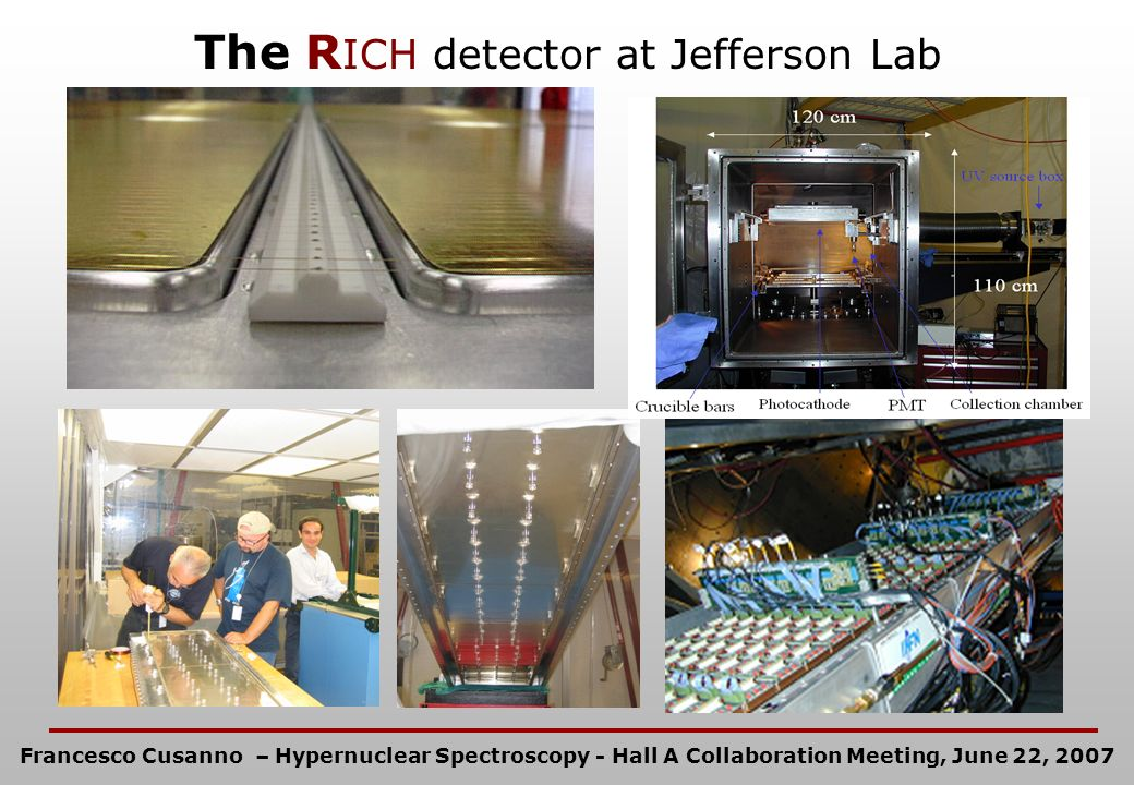 The R ICH detector at Jefferson Lab Francesco Cusanno – Hypernuclear Spectroscopy - Hall A Collaboration Meeting, June 22, 2007