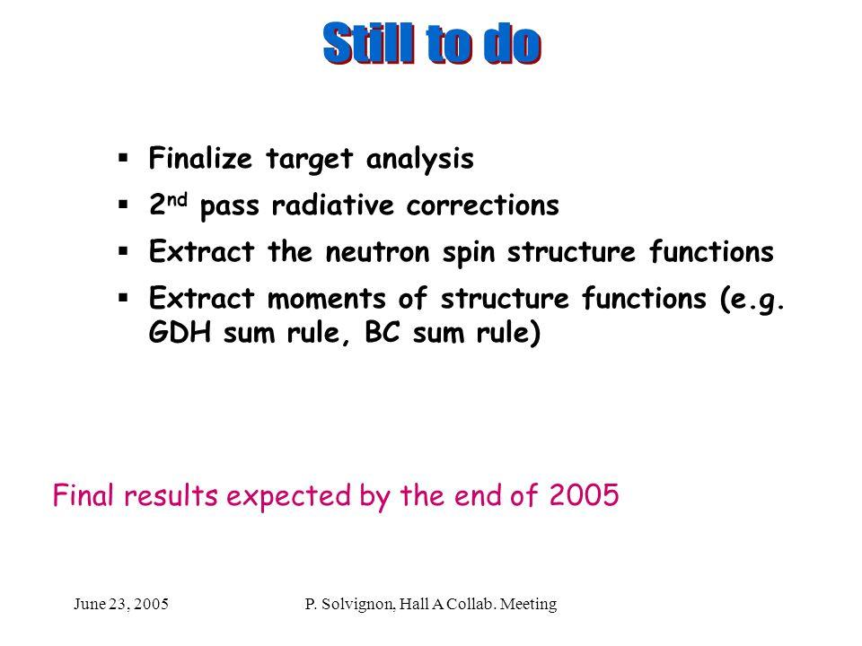 June 23, 2005P. Solvignon, Hall A Collab.