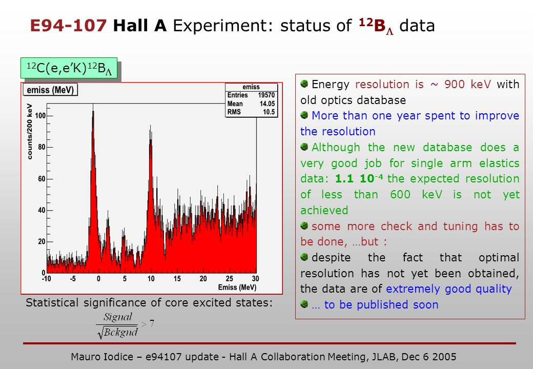 E Hall A Experiment: status of 12 B data 12 C(e,eK) 12 B Statistical significance of core excited states: Energy resolution is ~ 900 keV with old optics database More than one year spent to improve the resolution Although the new database does a very good job for single arm elastics data: the expected resolution of less than 600 keV is not yet achieved some more check and tuning has to be done, …but : despite the fact that optimal resolution has not yet been obtained, the data are of extremely good quality … to be published soon Mauro Iodice – e94107 update - Hall A Collaboration Meeting, JLAB, Dec