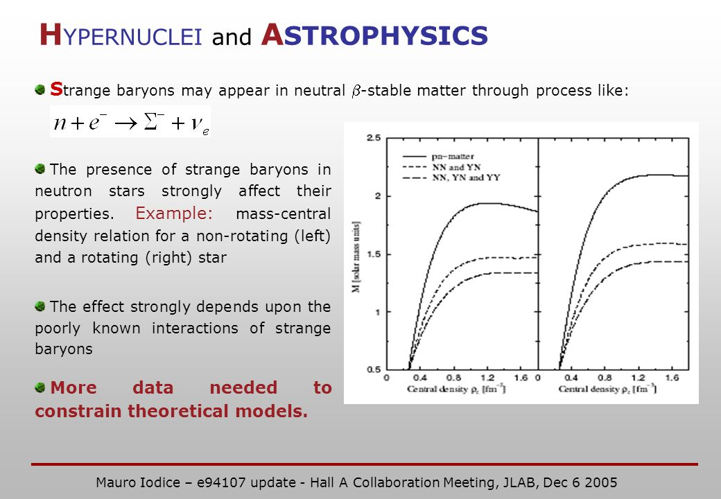 H YPERNUCLEI and A STROPHYSICS S trange baryons may appear in neutral -stable matter through process like: The presence of strange baryons in neutron stars strongly affect their properties.