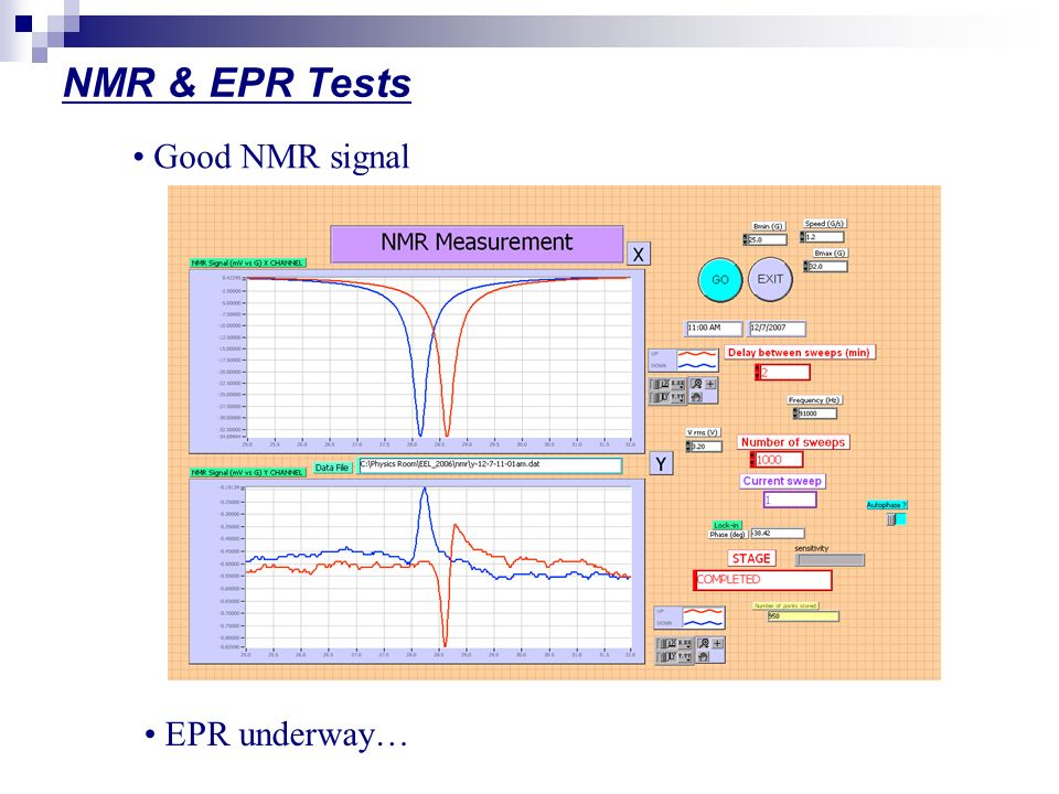 NMR & EPR Tests Good NMR signal EPR underway…
