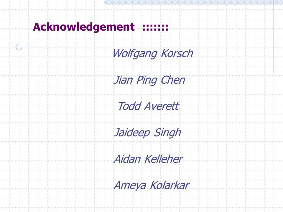 Wolfgang Korsch Jian Ping Chen Todd Averett Jaideep Singh Aidan Kelleher Ameya Kolarkar Acknowledgement :::::::