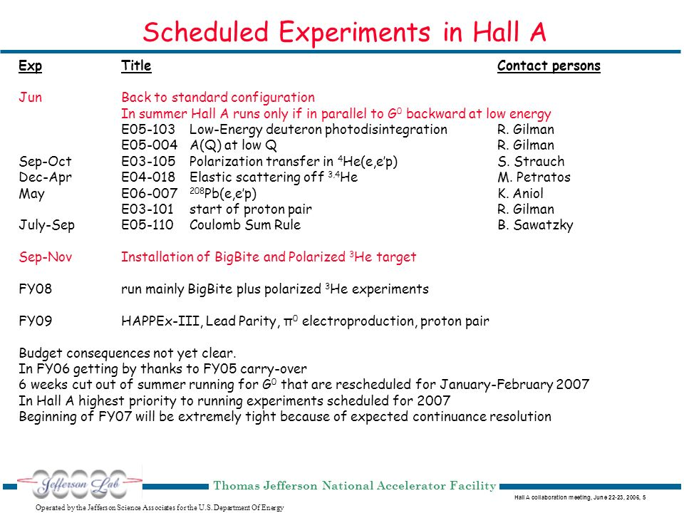 Hall A collaboration meeting, June 22-23, 2006, 6 Operated by the Jefferson Science Associates for the U.S.