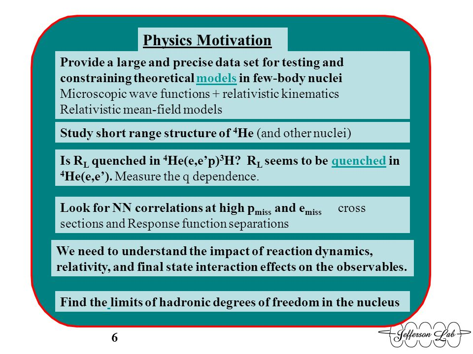 Physics Motivation Provide a large and precise data set for testing and constraining theoretical models in few-body nuclei Microscopic wave functions