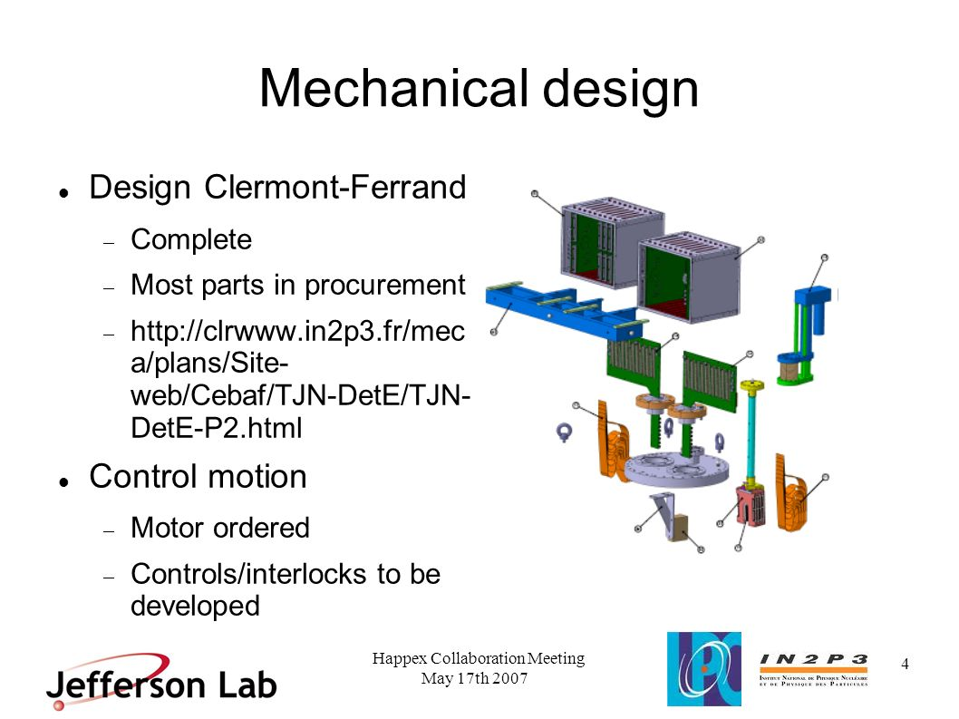 May 17th 2007 Happex Collaboration Meeting 5 Mechanical design Integration JLab CAD drawings from Clermont Ferrand to check for interference Support stand design complete