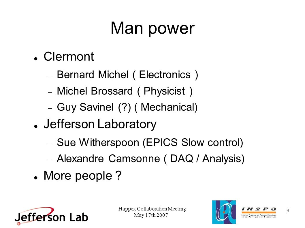May 17th 2007 Happex Collaboration Meeting 10 Conclusion Mechanical design complete Progress on the electron detector electronics Final date for installation to be determined All components ready by end of 2007 ready for installation beginning 2008