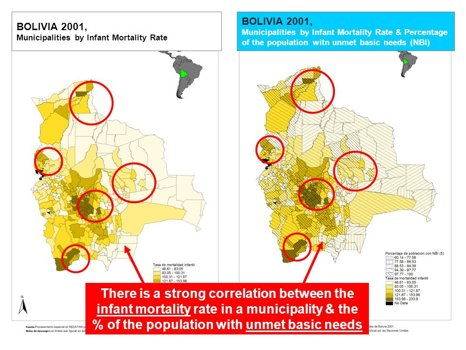 MDG 4 INFANT MORTALITY Inequities are more pronounced at the local level (NBI – Infant Mortality) 99.77 to 100% BOLIVIA 2001, Municipalities by Infant