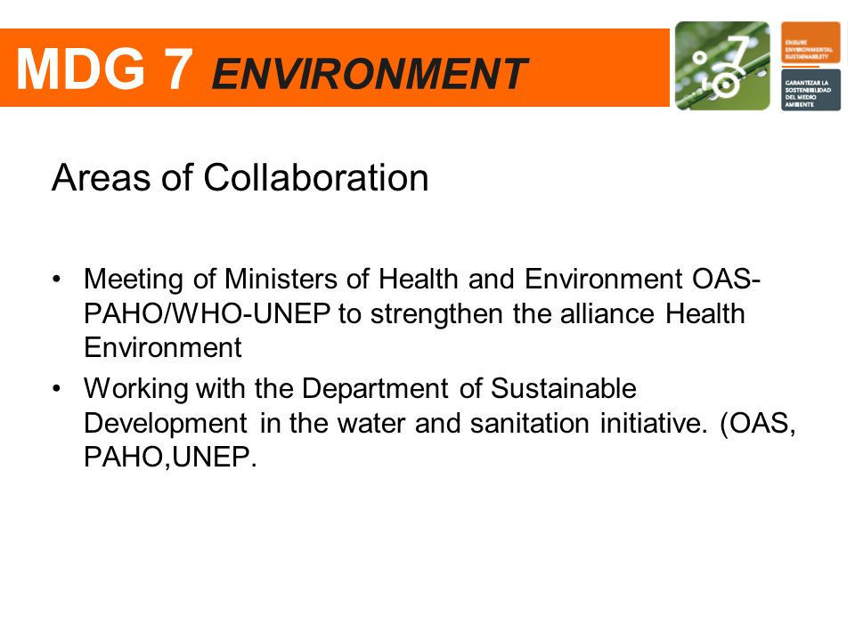 Areas of Collaboration Meeting of Ministers of Health and Environment OAS- PAHO/WHO-UNEP to strengthen the alliance Health Environment Working with th