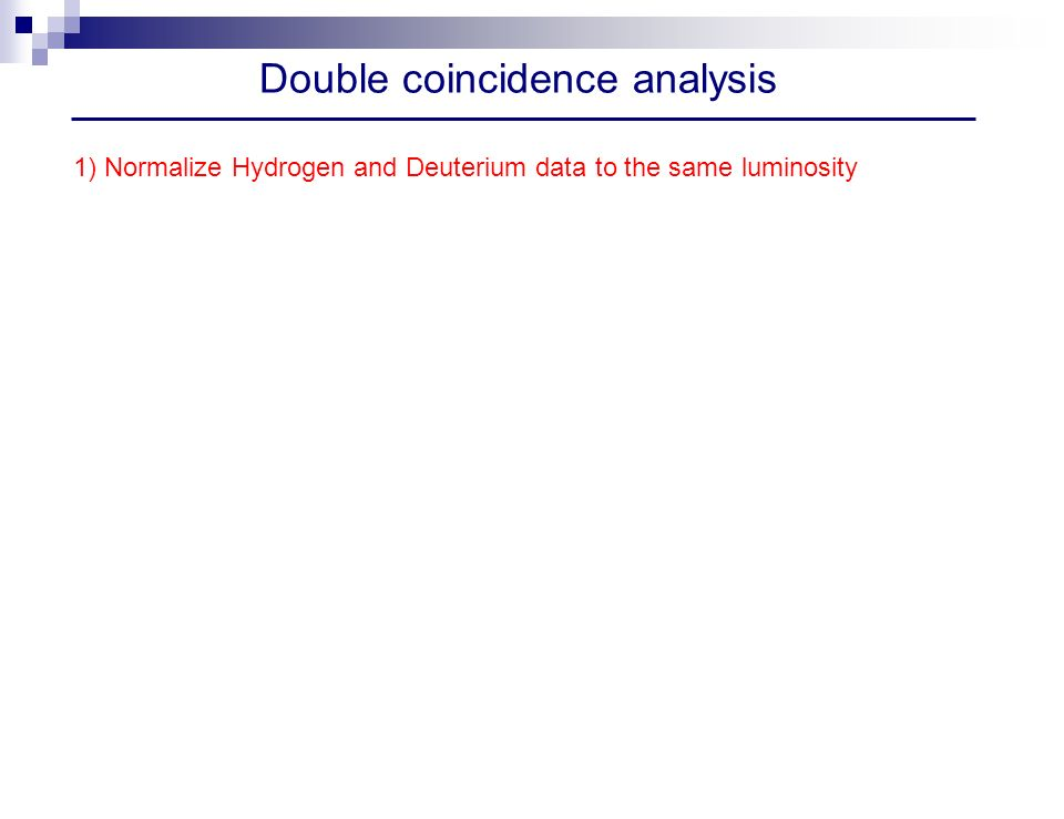 Double coincidence analysis 1) Normalize Hydrogen and Deuterium data to the same luminosity