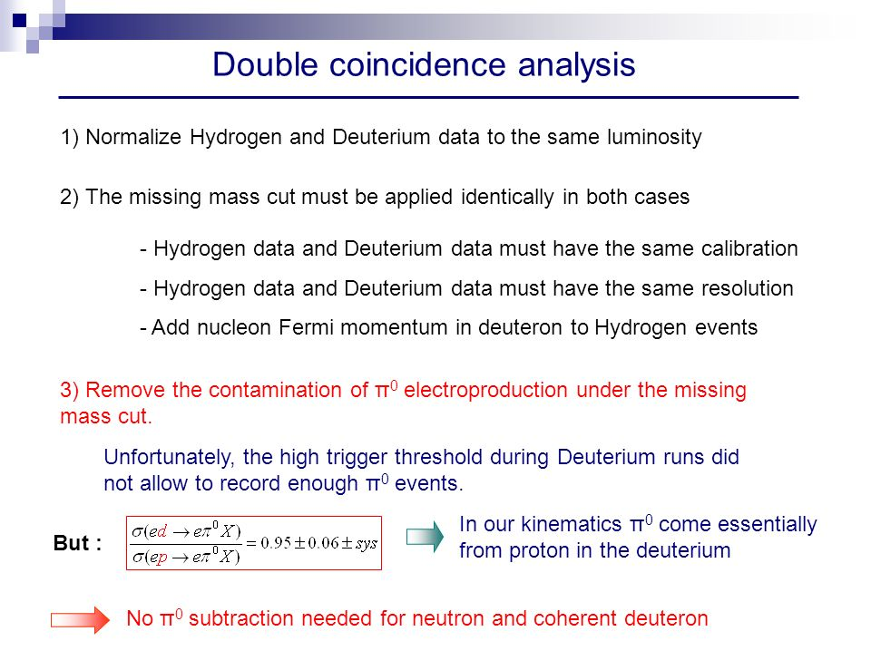 Double coincidence analysis 1) Normalize Hydrogen and Deuterium data to the same luminosity 2) The missing mass cut must be applied identically in both cases - Hydrogen data and Deuterium data must have the same calibration - Hydrogen data and Deuterium data must have the same resolution - Add nucleon Fermi momentum in deuteron to Hydrogen events 3) Remove the contamination of π 0 electroproduction under the missing mass cut.