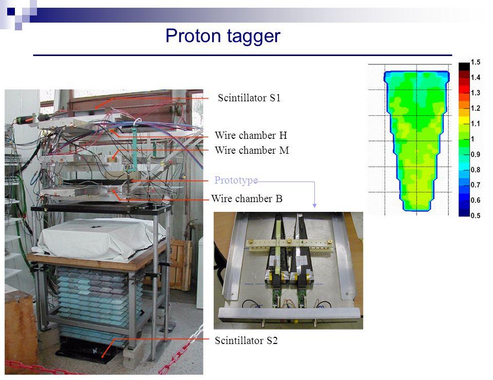 Proton tagger Scintillator S1 Wire chamber H Wire chamber M Wire chamber B Prototype Scintillator S2