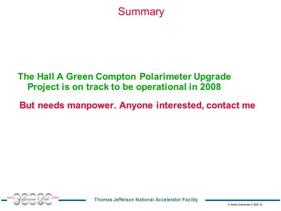 Thomas Jefferson National Accelerator Facility S. Nanda, December 5, 2005 16 Summary The Hall A Green Compton Polarimeter Upgrade Project is on track