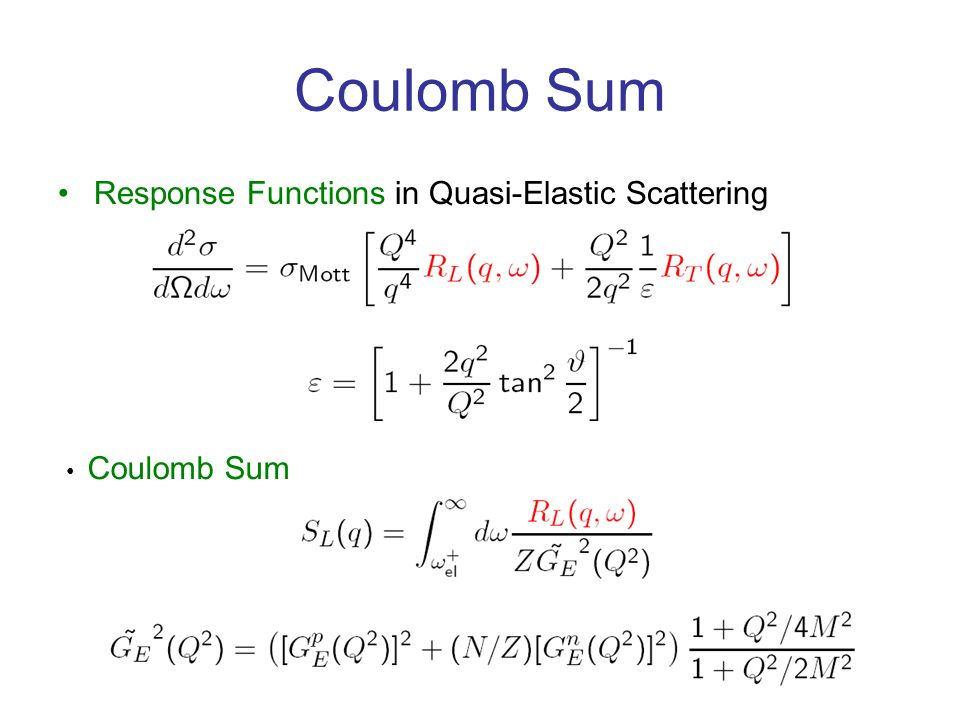 Coulomb Sum Response Functions in Quasi-Elastic Scattering Coulomb Sum