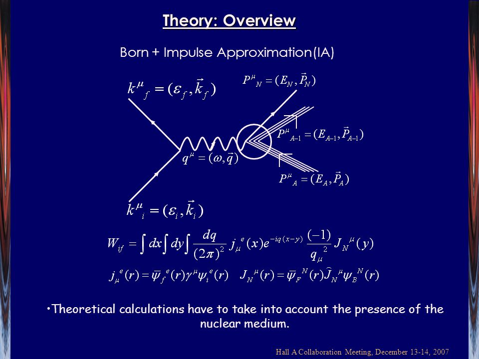 Hall A Collaboration Meeting, December 13-14, 2007 Theory: Overview Born + Impulse Approximation(IA) Theoretical calculations have to take into account the presence of the nuclear medium.