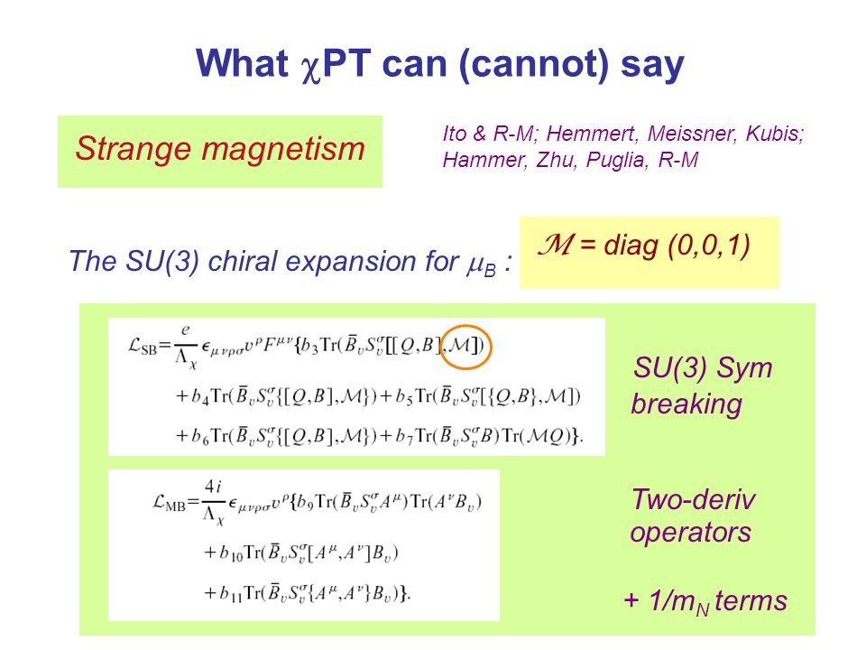 What PT can (cannot) say Strange magnetism Ito & R-M; Hemmert, Meissner, Kubis; Hammer, Zhu, Puglia, R-M The SU(3) chiral expansion for B : SU(3) Sym breaking O (p 4 ) Two-deriv operators + 1/m N terms M = diag (0,0,1)