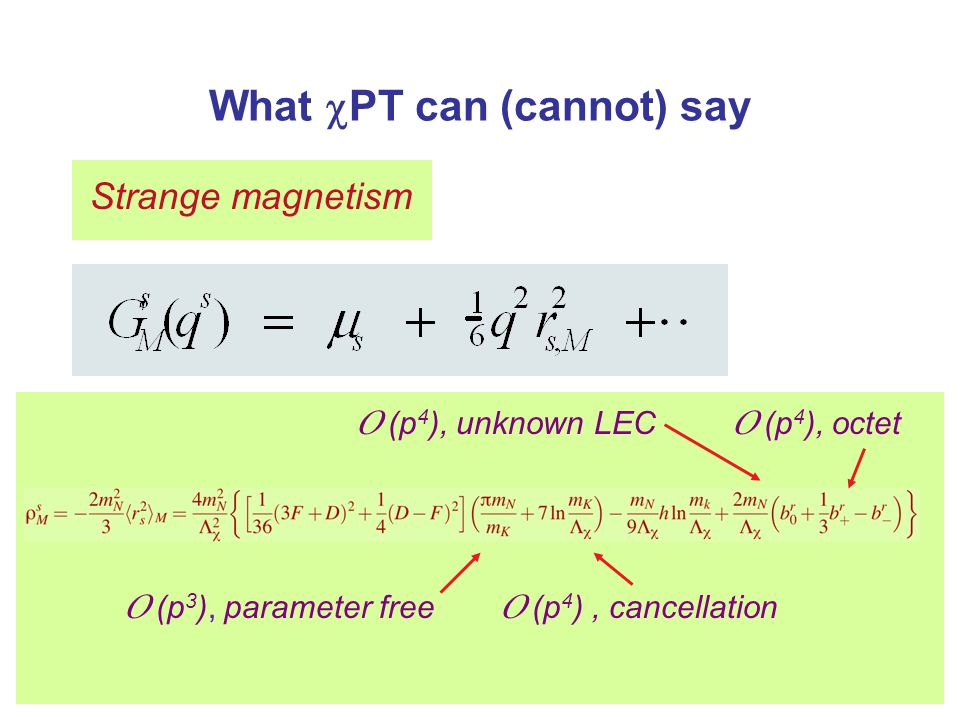 What PT can (cannot) say Strange magnetism O (p 4 ), unknown LEC O (p 3 ), parameter free O (p 4 ), cancellation O (p 4 ), octet