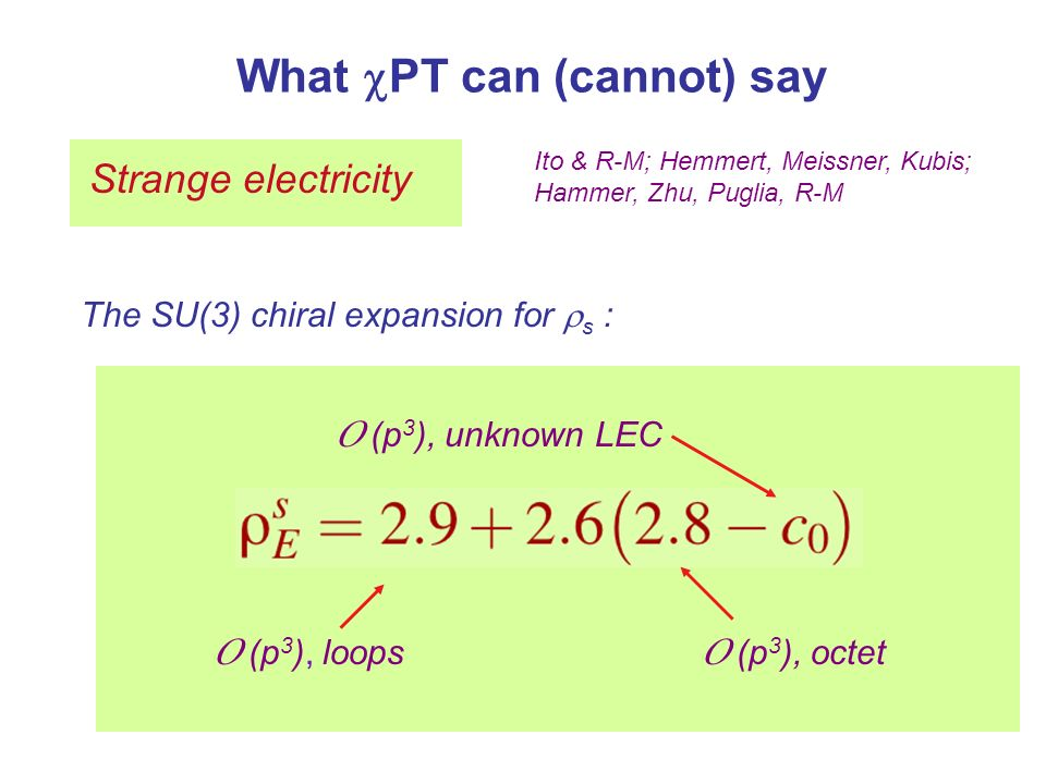 What PT can (cannot) say Strange electricity Ito & R-M; Hemmert, Meissner, Kubis; Hammer, Zhu, Puglia, R-M The SU(3) chiral expansion for s : O (p 3 ), octet O (p 3 ), unknown LEC O (p 3 ), loops