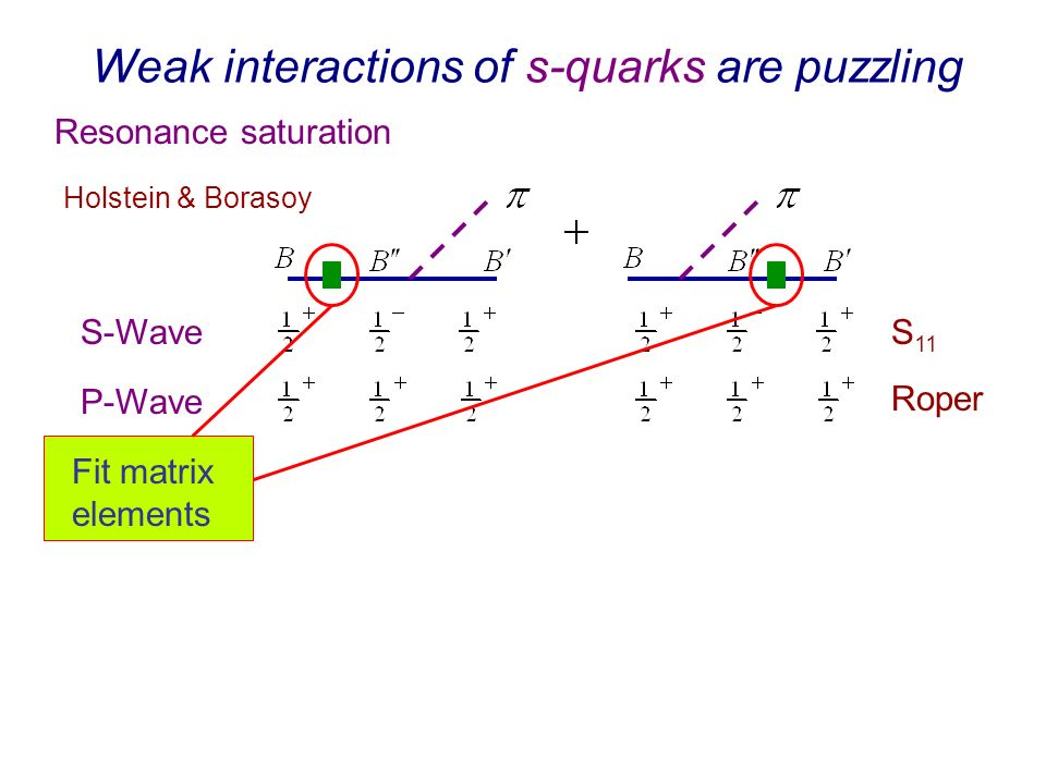 Weak interactions of s-quarks are puzzling Resonance saturation Holstein & Borasoy S 11 Roper S-Wave P-Wave Fit matrix elements
