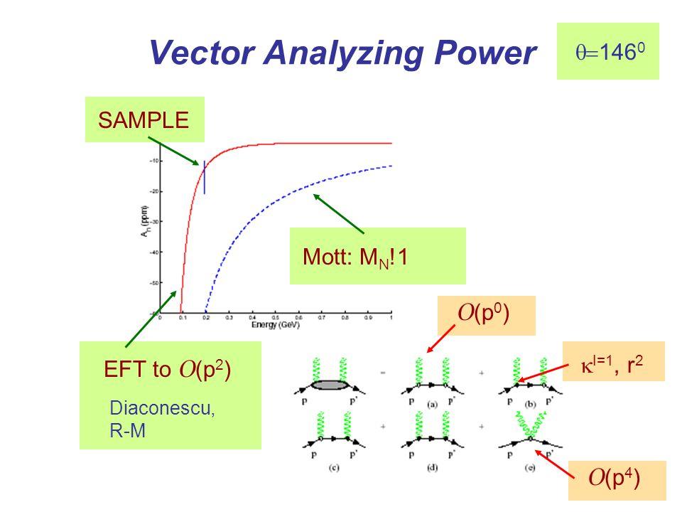 Vector Analyzing Power Mott: M N !1 SAMPLE EFT to O (p 2 ) Diaconescu, R-M I=1, r 2 O (p 0 ) O (p 4 ) 146 0