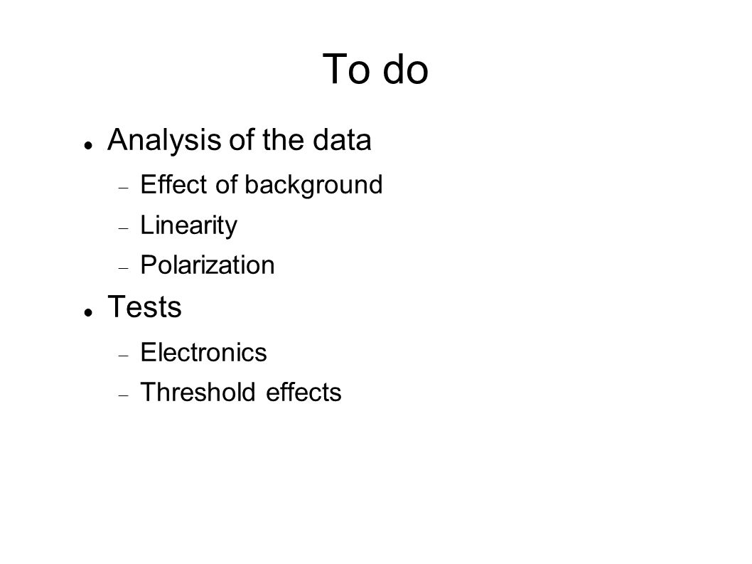 To do Analysis of the data Effect of background Linearity Polarization Tests Electronics Threshold effects
