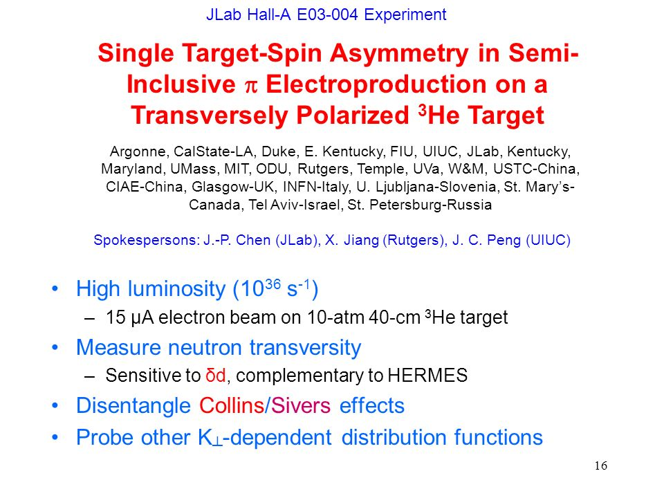 16 JLab Hall-A E03-004 Experiment High luminosity (10 36 s -1 ) –15 μA electron beam on 10-atm 40-cm 3 He target Measure neutron transversity –Sensiti