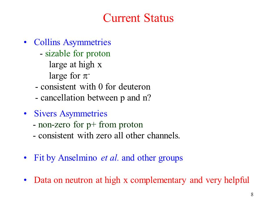 8 Current Status Collins Asymmetries - sizable for proton large at high x large for - - consistent with 0 for deuteron - cancellation between p and n?