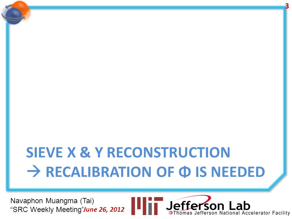 Navaphon Muangma (Tai) SRC Weekly Meeting SIEVE X & Y RECONSTRUCTION RECALIBRATION OF Φ IS NEEDED 3 June 26, 2012