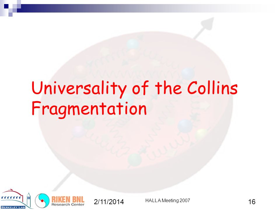 Universality of the Collins Fragmentation 2/11/2014 HALL A Meeting 2007 16