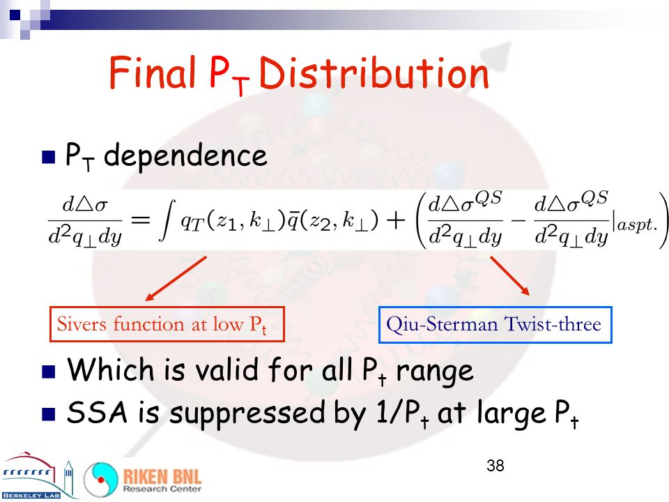 38 Final P T Distribution P T dependence Which is valid for all P t range SSA is suppressed by 1/P t at large P t Sivers function at low P t Qiu-Sterm