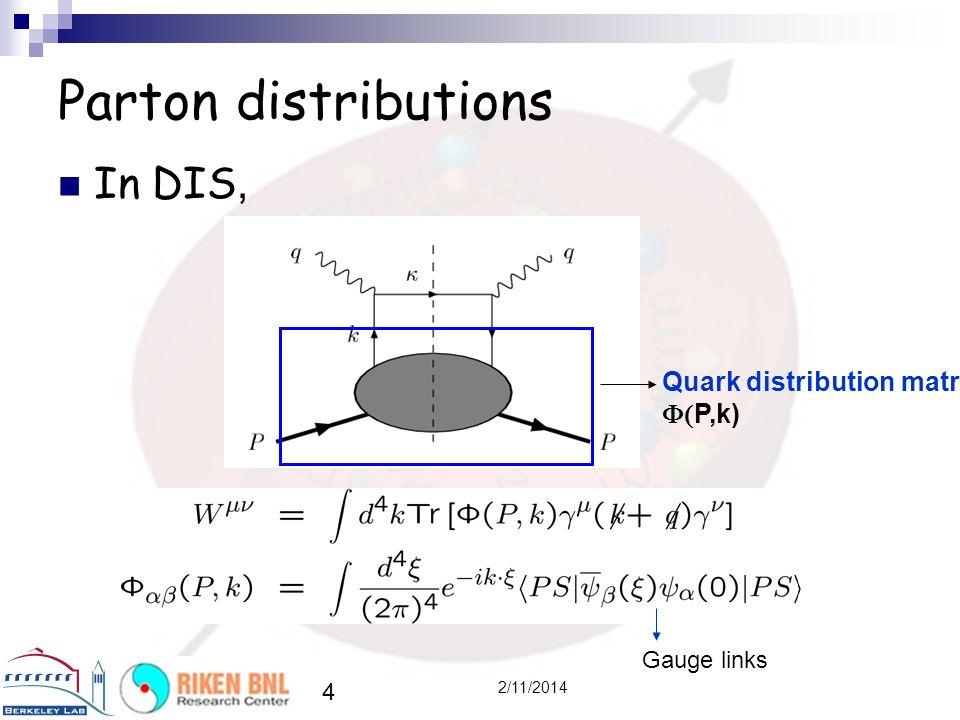 In DIS, 4 2/11/2014 Parton distributions Quark distribution matrix P,k) Gauge links