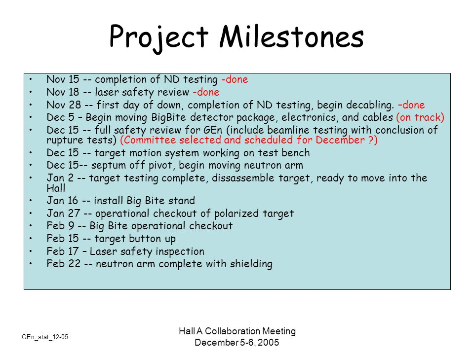 GEn_stat_12-05 Hall A Collaboration Meeting December 5-6, 2005 Project Milestones Nov 15 -- completion of ND testing -done Nov 18 -- laser safety revi