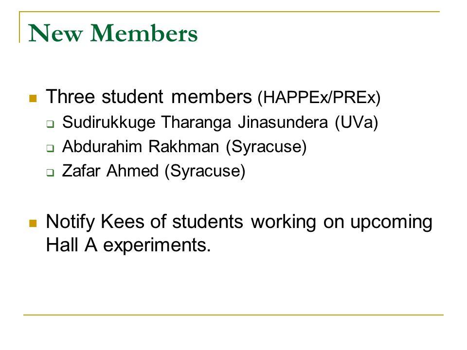 New Members Three student members (HAPPEx/PREx) Sudirukkuge Tharanga Jinasundera (UVa) Abdurahim Rakhman (Syracuse) Zafar Ahmed (Syracuse) Notify Kees