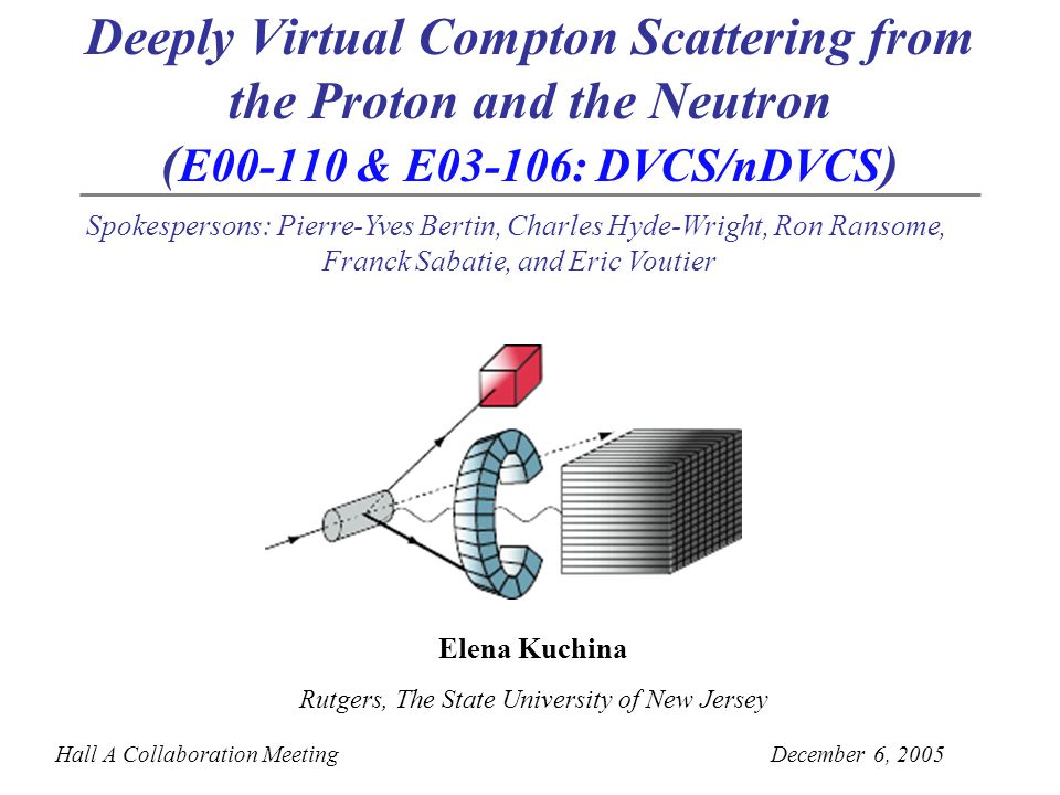 Deeply Virtual Compton Scattering from the Proton and the Neutron ( E00-110 & E03-106: DVCS/nDVCS ) Hall A Collaboration MeetingDecember 6, 2005 Spokespersons: Pierre-Yves Bertin, Charles Hyde-Wright, Ron Ransome, Franck Sabatie, and Eric Voutier Elena Kuchina Rutgers, The State University of New Jersey