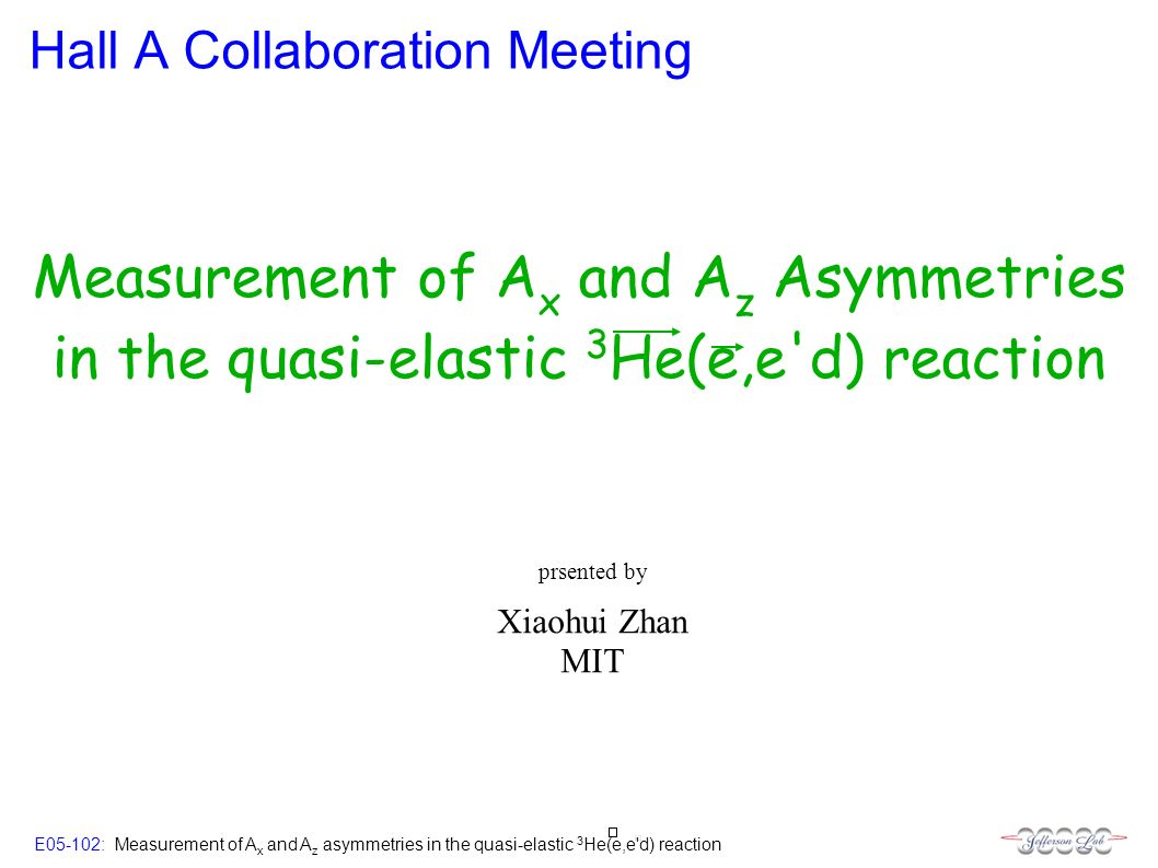 E05-102: Measurement of A x and A z asymmetries in the quasi-elastic 3 He(e,e d) reaction Hall A Collaboration Meeting Xiaohui Zhan MIT prsented by Measurement of A x and A z Asymmetries in the quasi-elastic 3 He(e,e d) reaction