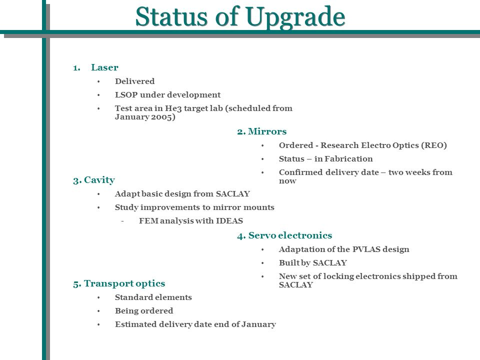 Status of Upgrade 1.Laser Delivered LSOP under development Test area in He3 target lab (scheduled from January 2005) 2. Mirrors Ordered - Research Ele