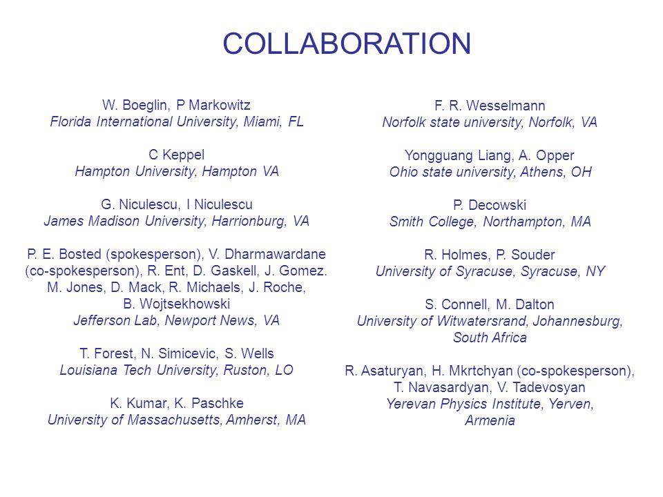 COLLABORATION W. Boeglin, P Markowitz Florida International University, Miami, FL C Keppel Hampton University, Hampton VA G. Niculescu, I Niculescu Ja