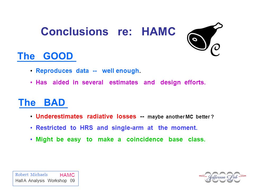 Robert Michaels HAMC Hall A Analysis Workshop 09 C Conclusions re: HAMC Reproduces data -- well enough.