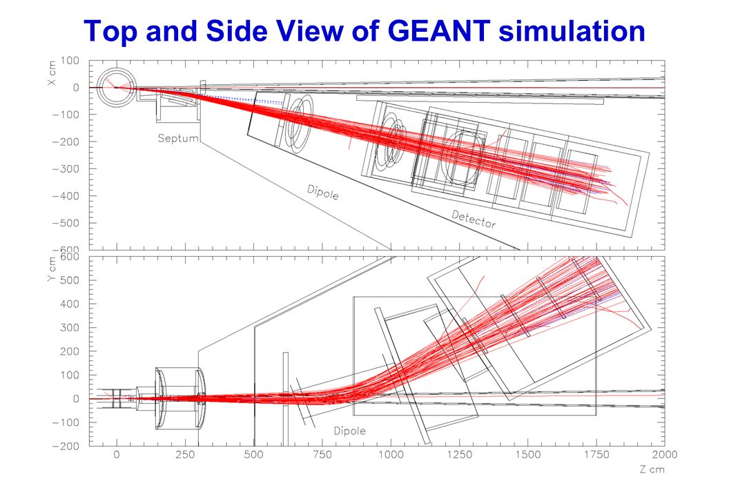 Top and Side View of GEANT simulation