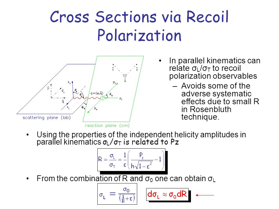 Cross Sections via Recoil Polarization Using the properties of the independent helicity amplitudes in parallel kinematics σ L /σ T is related to Pz In