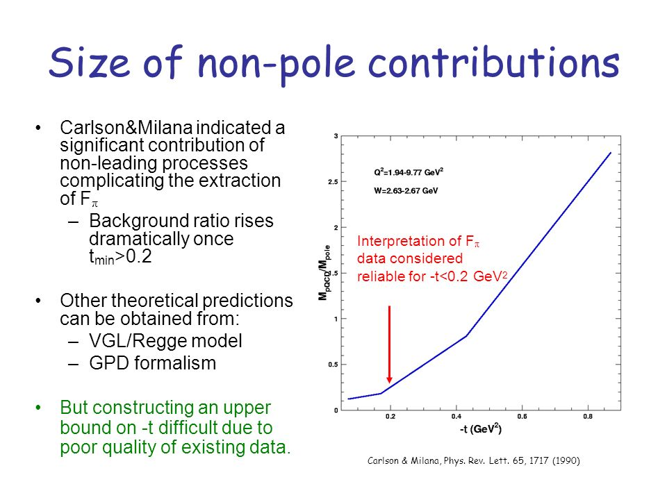 Size of non-pole contributions Carlson&Milana indicated a significant contribution of non-leading processes complicating the extraction of F π –Backgr