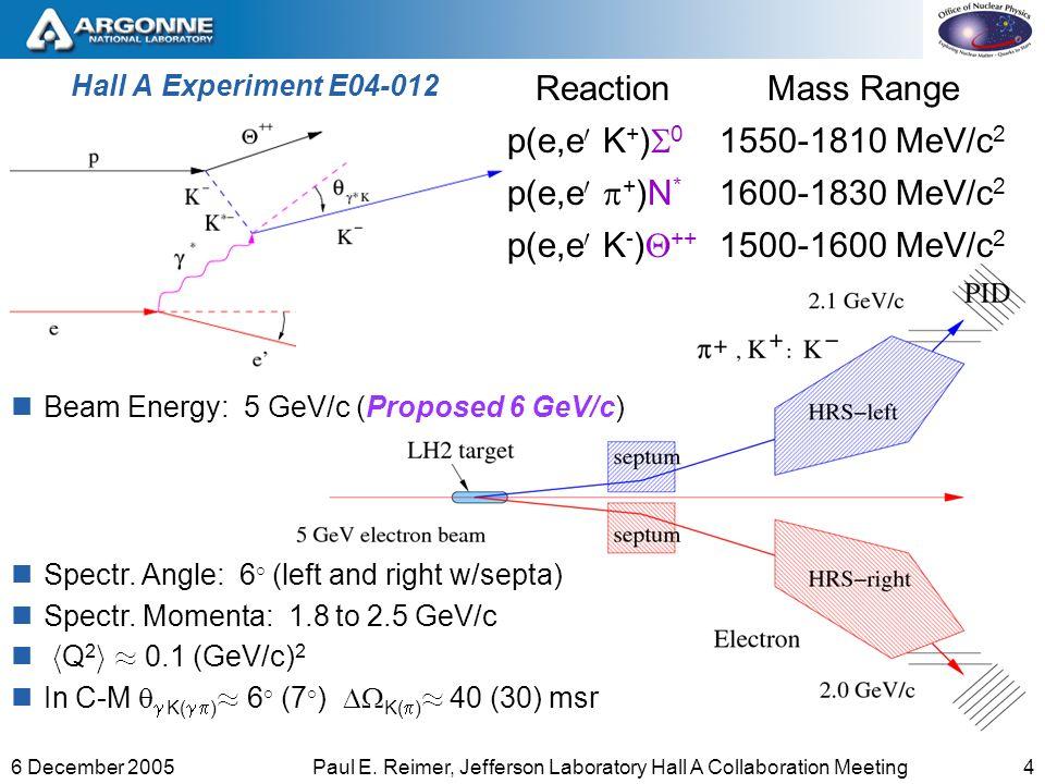 46 December 2005Paul E. Reimer, Jefferson Laboratory Hall A Collaboration Meeting Hall A Experiment E04-012 ReactionMass Range p(e,e 0 K + ) 0 1550-18