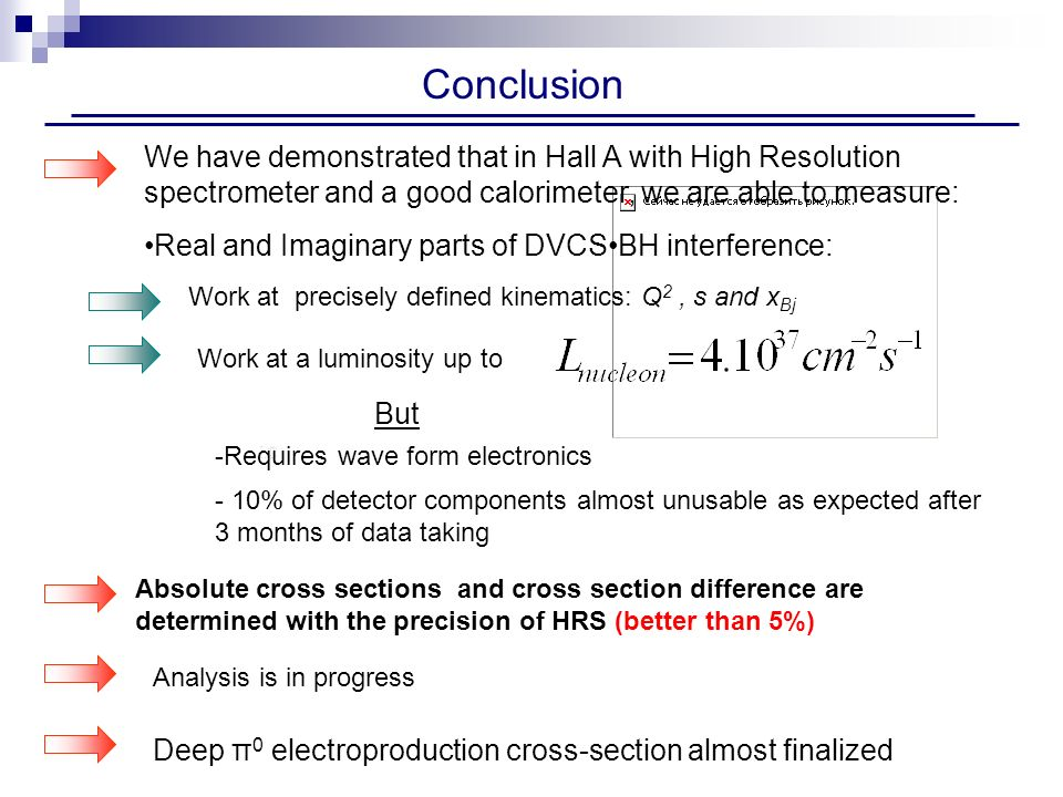 Conclusion -Requires wave form electronics - 10% of detector components almost unusable as expected after 3 months of data taking We have demonstrated that in Hall A with High Resolution spectrometer and a good calorimeter, we are able to measure: Real and Imaginary parts of DVCSBH interference: Work at precisely defined kinematics: Q 2, s and x Bj Absolute cross sections and cross section difference are determined with the precision of HRS (better than 5%) Analysis is in progress But Work at a luminosity up to Deep π 0 electroproduction cross-section almost finalized
