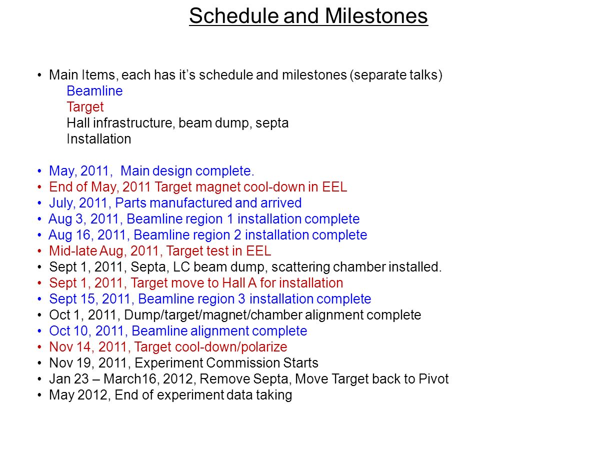 Main Items, each has its schedule and milestones (separate talks) Beamline Target Hall infrastructure, beam dump, septa Installation May, 2011, Main design complete.