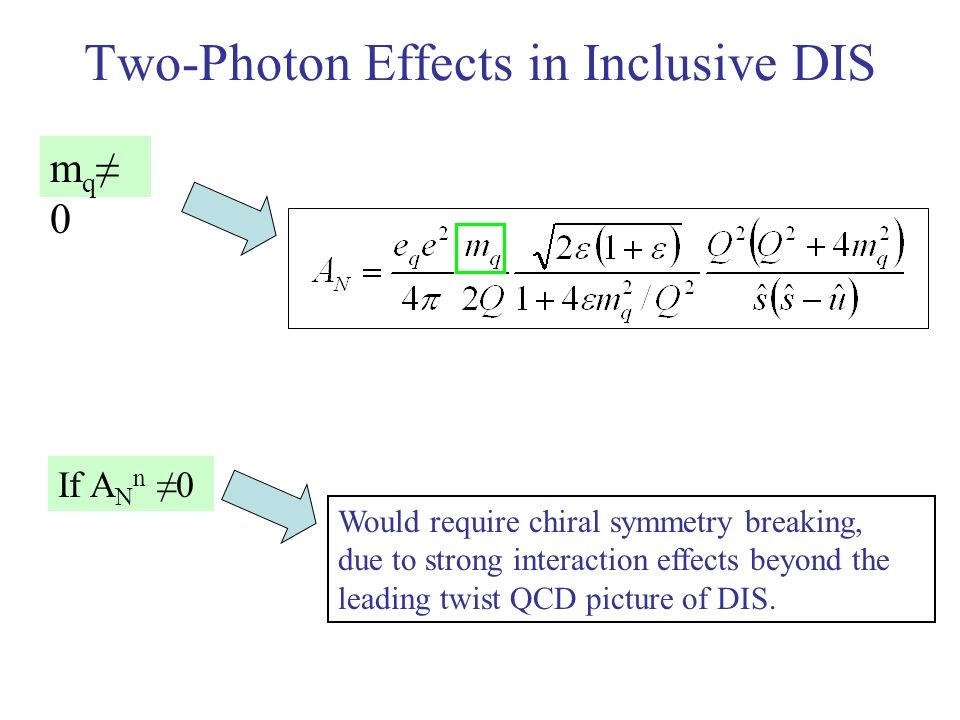 Two-Photon Effects in Inclusive DIS m q 0 If A N n 0 Would require chiral symmetry breaking, due to strong interaction effects beyond the leading twis