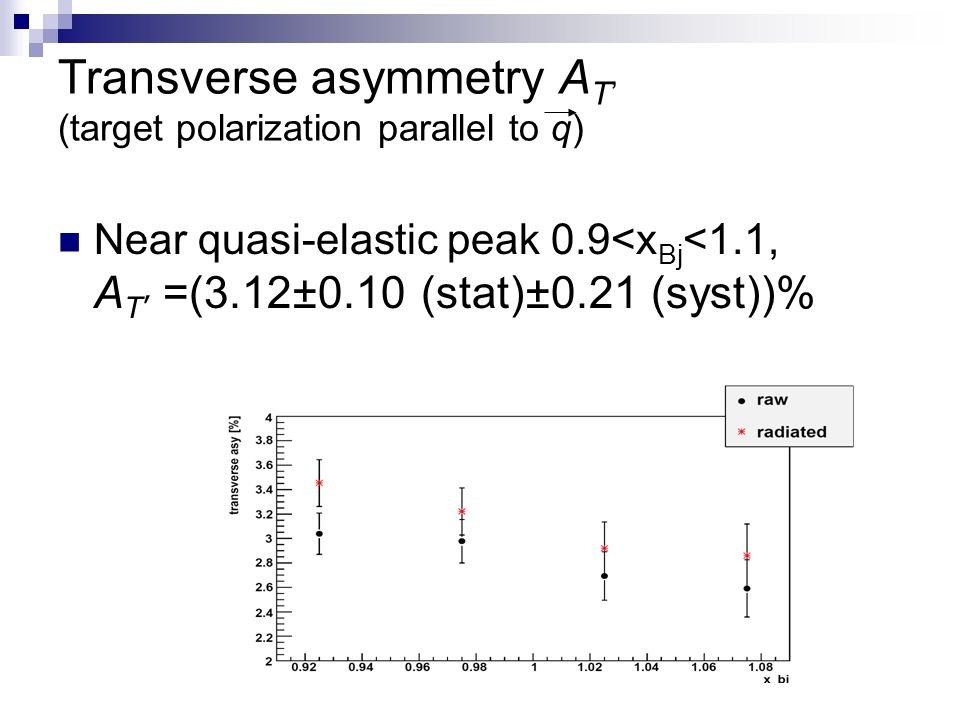Transverse asymmetry A T (target polarization parallel to q) Near quasi-elastic peak 0.9<x Bj <1.1, A T =(3.12±0.10 (stat)±0.21 (syst))%