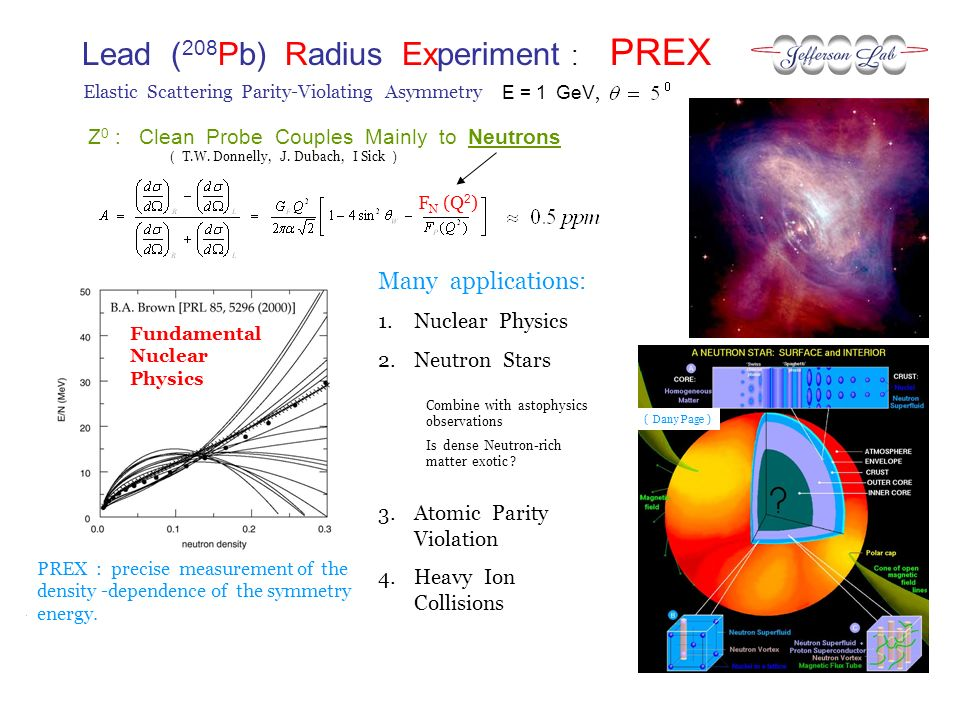 Lead ( 208 Pb) Radius Experiment : PREX E = 1 GeV, Elastic Scattering Parity-Violating Asymmetry PREX : precise measurement of the density -dependence of the symmetry energy.