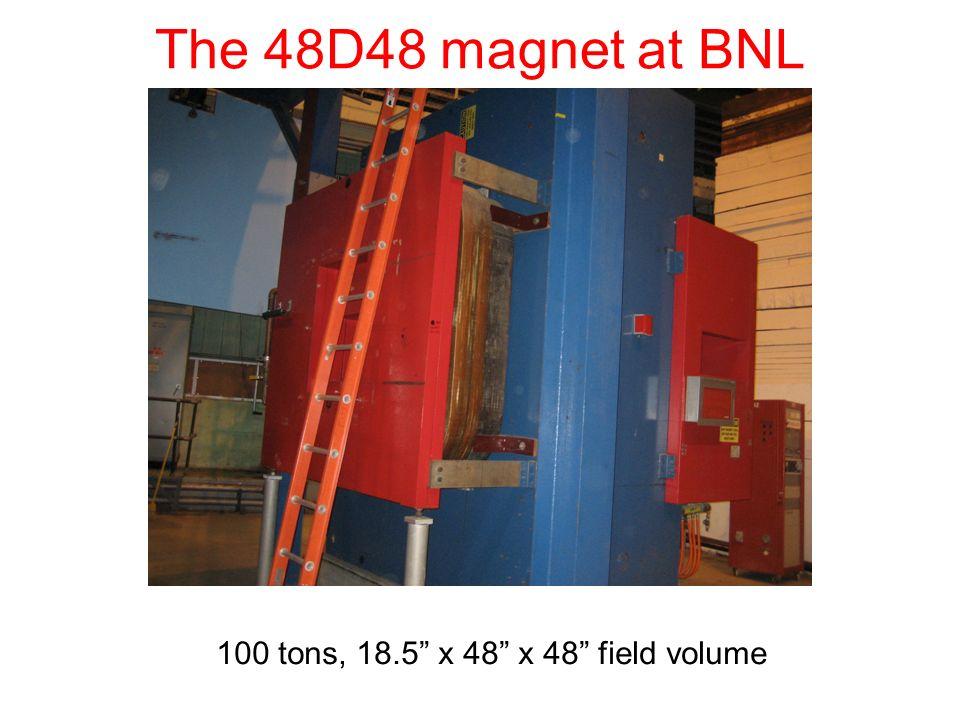 The 48D48 magnet at BNL 100 tons, 18.5 x 48 x 48 field volume