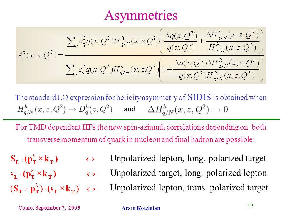 19 Como, September 7, 2005 Aram Kotzinian Asymmetries The standard LO expression for helicity asymmetry of SIDIS is obtained when and For TMD dependent HFs the new spin-azimuth correlations depending on both transverse momentum of quark in nucleon and final hadron are possible: Unpolarized lepton, long.